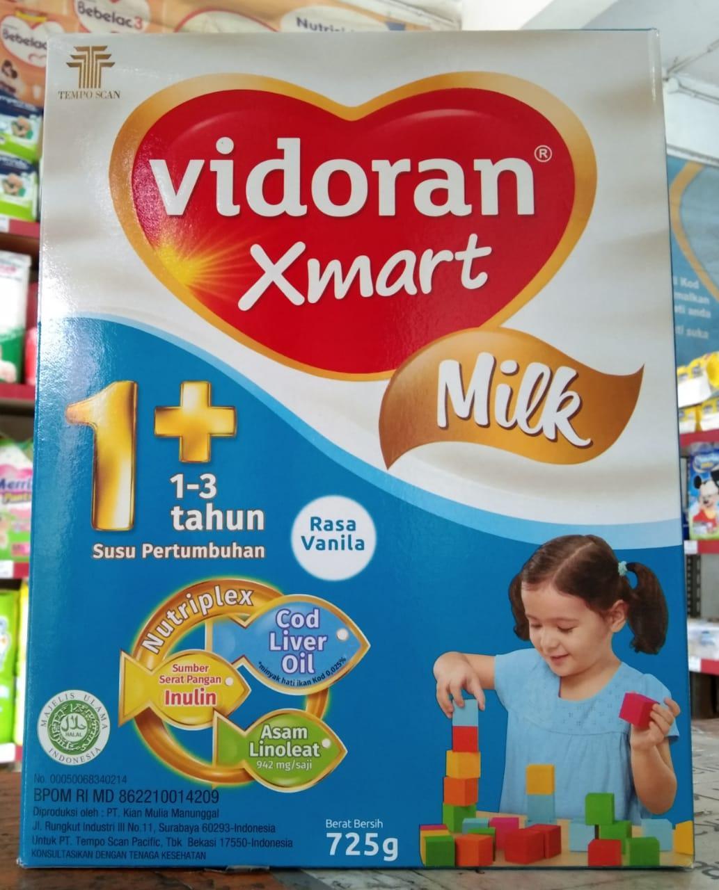 Susu Vidoran Xmart 1+. Vanila. 725 Gram. Usia 1-3 Tahun