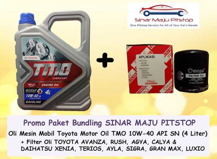 Paket Bundling OLI TMO TOYOTA MOTOR OIL 10W-40 API SN 4 LITER & Filter Oli MOBIL DAIHATSU XENIA TERIOS AYLA SIGRA GRAN MAX LUXIO ORIGINAL