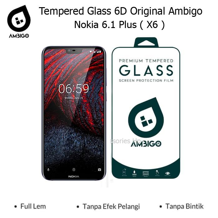Accessories Hp Ambigo Tempered Glass 6D Full Cover Warna / Anti Gores Kaca Full Lem For Nokia 6.1 Plus ( X6 )