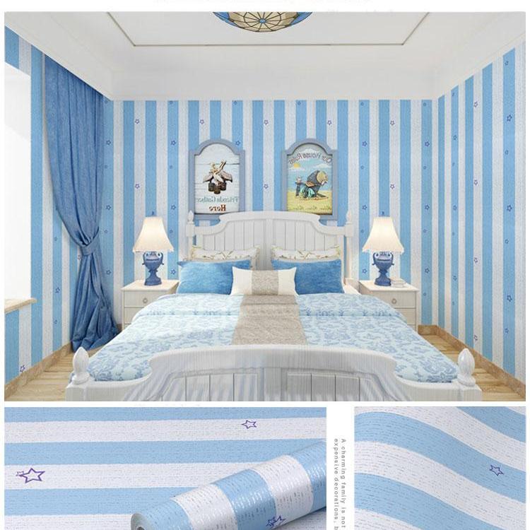 Wallpaper Dinding Garis Bintang Biru Lazada Indonesia