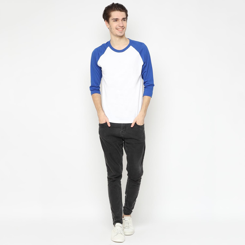 D151 Kaos Raglan Polos 3/4 Premium Putih benhur Baju Kaos Atasan Dewasa