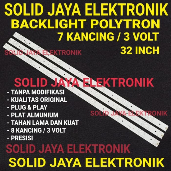 BACKLIGHT POLYTRON 32 INCH INC 7 KANCING MATA TITIK 3 VOLT 7K 3V LAMPU BL LED TV POLYTRON 32INC 32INCH 32 IN INCH IN 7 LAMPU 3 BATANG FULL SET TV POLYTRON TANPA MODIFIKASI KUALITAS ORIGINAL
