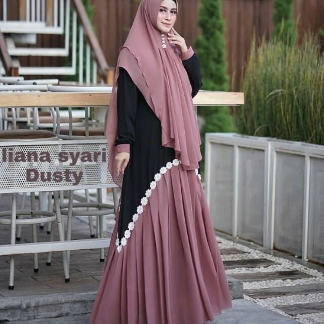 Liana syari+khimar gamissyari/gamismurah/gamiskekinian(app)patokan warna dari jilbab (mustard,L+)