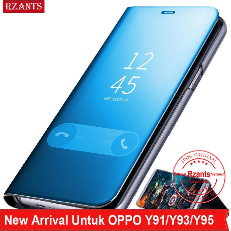 Rzants untuk VIVO Y91,Y93,Y95 Casing Mewah Slim【mirror】intelligent Berdiri Ponsel Putar Kulit Casing