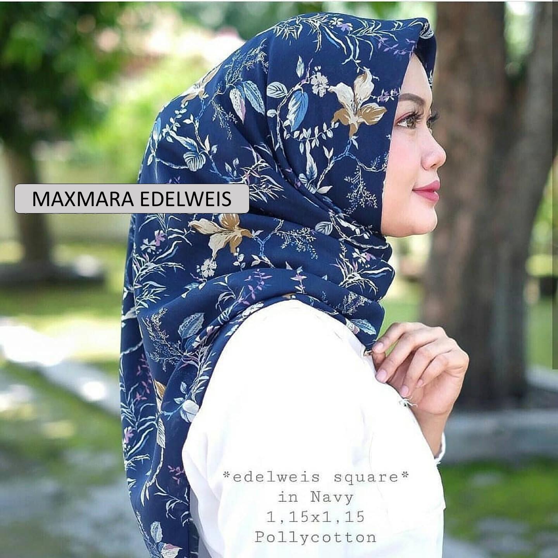 El Hijab Jilbab Segi Empat Maxmara Premium Edelweis - Kerudung Jilbab Segi Empat Fashion Muslim Hijab Jilbab Segiempat Syari Khimar Motif Pashmina Motif Bunga Hijab Modern Hijab Kekinian Hijab Daily Selebgram Hijab Pesta