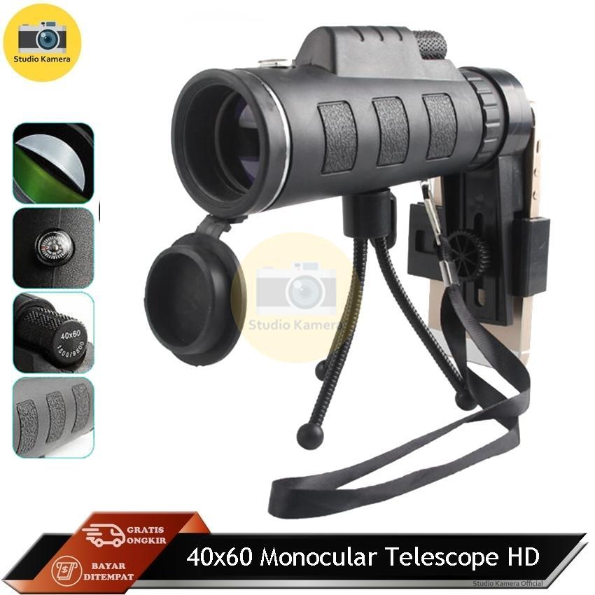 Studio Kamera - 40x60 Hd Mini Night Vision Monocular Telescope With Tripod - Lensa By Studio Kamera.