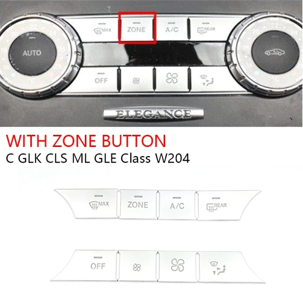 8PCS AC Dash Buttons Cover Media Volume Buttons Cover Stickers for Mercedes Benz C GLK CLS ML GLE W204