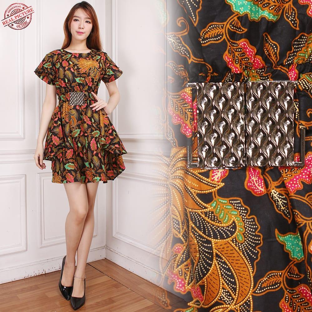 Midi Dress Lilis Shortdress Pendek Casual Batik Wanita All Size Coklat 85de7611cf