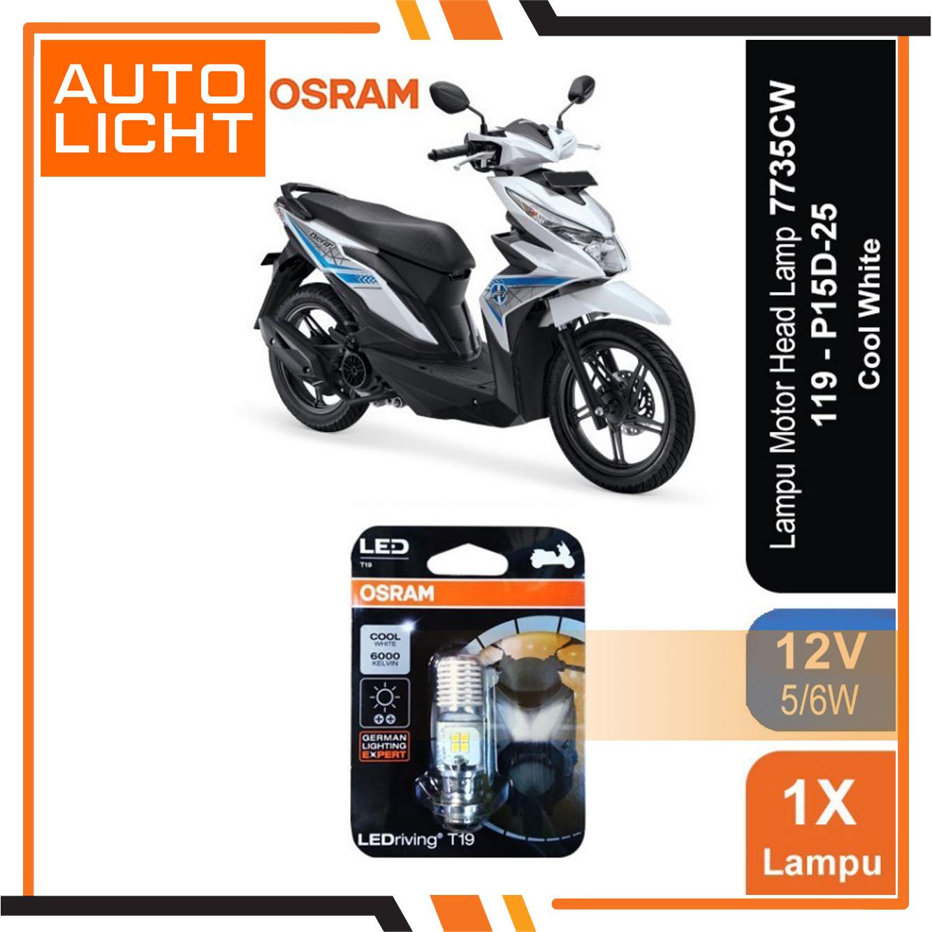 Osram Lampu Motor LED Honda Beat #7735Cw T19 H16 K1 Putih