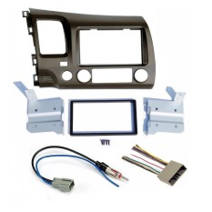 06-11 Honda Civic Taupe Radio Stereo Double 2 DIN Dash Kit W/Wiring Harness-Intl