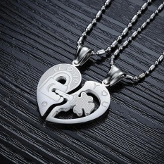 Harga Hemat 1 Pair Pasangan Titanium Steel Kunci Dan Kunci Heart Pendant Kalung Untuk Hari Valentine Hadiah Intl