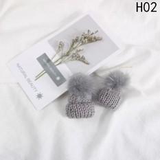1 Pair Dangle Earring Mink Fur Pom Pom Ball Rhinestone Earrings H02-Intl