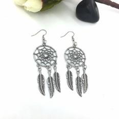 1 Pair Fashion Wanita Lady Dreamcatcher Ear Stud Anting Emas
