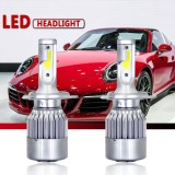 Review 1 Pair H4 C6 Cob Led Headlight Kit 3800Lm Bulb 6000K Beam Car Lamp Bulb Hid White Style H4 Intl