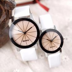 1 sepasang beberapa Watch pria dan Wo pria Quartz Dial Clock kulit Wrist Watch bulat case putih