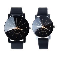 Harga 1 Pair Dari Beberapa Jam Tangan Wanita Dan Pria Quartz Dial Clock Kulit Wrist Watch Bulat Case Terbaru