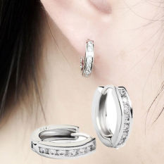 1 Pasang Berlapis Perak Zirkon Anting Cincin Berlian Imitasi Telinga -Internasional
