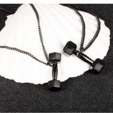 1 Buah 11mm X 35mm Kreatif Fashion Eropa Olahraga And Kebugaran Pria Indonesia Ngumpul Di Sini Perhiasan Kalung Baja Titanium Halter Barbel Kalung Liontin-hitam (hitam) -Internasional