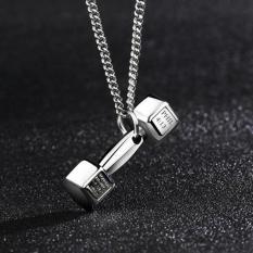 1 Buah 11mm X 35mm Kreatif Fashion Eropa Olahraga And Kebugaran Pria Indonesia Ngumpul Di Sini Perhiasan Kalung Baja Titanium Halter Barbel Kalung Liontin-perak-Internasional