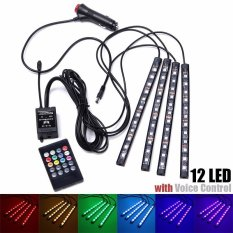Diskon Besar1 Set 12 V 12 Led Remote Control Rgb Interior Mobil Strip Light Wireless Kontrol Suara Intl