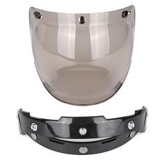 1 Set 3-Tempatkan Kacamata Hitam Sepeda Motor Helm Gelembung Kedok Lensa Tahan Angin Retro