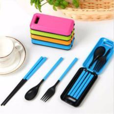 1 Set Sendok Travel Cutlery / Sendok Garpu Sumpit / Alat Makan Lipat ( 1 set