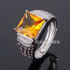 Model Pria Perak 925 berlapisan emas Garpu penyangga mata cincin penyangga kosong hidup Pelampung mosaik bentuk