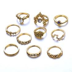 10 Pcs Bohemian Vintage Ring Set Pesona Lembang Geometris Fatima Tangan Perhiasan Set Emas-Intl