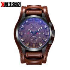 Beli 100 Asli Curren 8225 Bulat Pria Analog Wrist Watch Dengan Tiga Dihiasi Sub Dial Alloy Case Faux Leather Band Untuk Pria