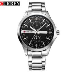 [100% Asli] Men Original Brand CURREN 8128 Jam Tangan Kuarsa Dua Dekoratif Sub-dial 3ATM Tahan Air Arloji