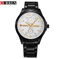 [100% Asli] Men Original Brand CURREN 8128 Wrist Jam QUARTZ Dua Dekoratif Sub-dial 3atm Tahan Air Arloji