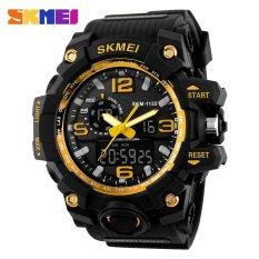 Diskon Besar 100 Genuine Skmei 1155 Busana Pria Digital Led Display Sport Watches Quartz Watch 50 M Tahan Air Dual Layar Jam Tangan Hitam Gold Intl