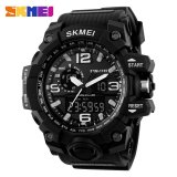 Harga 100 Genuine Skmei 1155 Busana Pria Digital Led Display Sport Watches Quartz Watch 50 M Tahan Air Dual Layar Jam Tangan Hitam Baru Murah