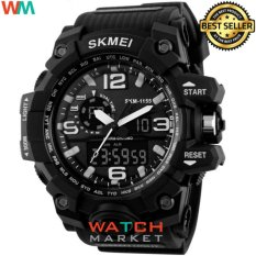 [100% Genuine]SKMEI 1155 Fashion Men Digital LED Display Sport Watches Quartz Watch 50M Waterproof Dual Display Wristwatches - intl Hitam