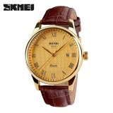 Miliki Segera 100 Genuine Skmei Brand Luxury Men Quartz Watch Fashion Casual Watches 30M Waterproof Leather Strap Mens Wristwatches 9058