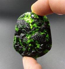 100% Natural Hetian Black Jade Kirin Liontin/mengirim Jade Bead Tali-Intl
