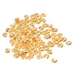 100 Pcs Gold Suara Crimp Manik Meliputi Temuan Perhiasan-Internasional