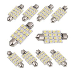 Cara Beli 10Pcs 42Mm White 3528 16 Smd Car Led Festoon Dome Map Interior Cargo Light Bulbs 211 578 Intl