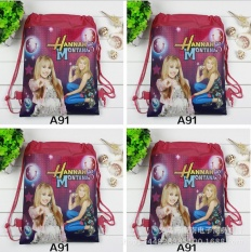 12Pcs New Hannah Montana Children School Bags Cartoon Drawstring Backpack Shopping Bag Party Printing Traveling Bags Gift