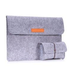 13.3 Inch Laptop/Tablet Sleeve Bag, Felt Protective Carrying Case Cover untuk Macbook Air/Pro 13.3 Inch/iPad Pro 12.9 Inch ASUS ZenBook Flip (UX360CA) 13.3 Inch, dengan Tas Kecil, ABU-ABU Muda-Internasional