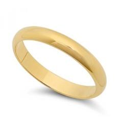 14 K Kuning Gold Berlapis Tebal 3 Mm Halus Kubah Kawin Cincin, UKURAN 9 + Kain Pemolesan Perhiasan-Internasional