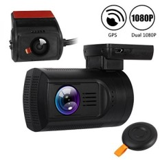 """1.5""""Mini Dash Cam GPS Dual Full HD 1080P 30fps Front and Rear Dash Cam Capacitor Car DVR Recorder with 275 Degree Wide Angle,Night Vision,Motion Detection,WDR,Wireless Remote,Up To 128GB - intl"""