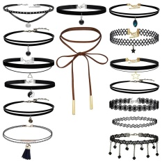 15 Buah Choker Necklace Set Stretch Velvet Klasik Gothic Tattoo Lace Choker-Intl