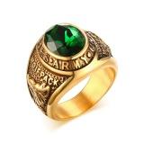 17Mm Emas Overlay Pria Ring Simulated Emerald Hijau Cubic Zirconia Pria Perhiasan U S Ukuran 8 12 Intl Terbaru