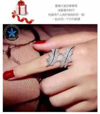 18 K Bulu Emas Putih Kerajinan Model Artis Cincin Bertatah Berlian Cincin