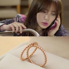 Diskon 18 K Korea Fashion Style Mengacu Pada Bagian Jari Telunjuk Cincin Cincin Emas Naik Branded