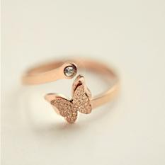 18 k/j045 Korea Fashion Style titanium baja naik berlapis emas cincin cincin cincin ekor