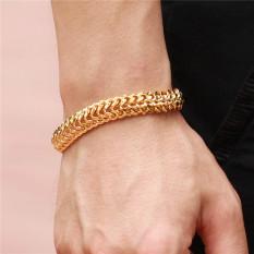 18 KB Berlapis Emas Perhiasan Pria Kalung Gelang Anting Gelang Hadiah Berlapis Emas Gelang Rantai For Pria