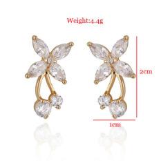 18 K Berlapis Emas Elegan Semanggi Berlian Imitasi Kristal Bunga Anting Stud