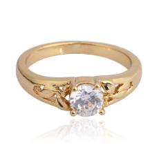 18 KB Lempengan Emas Bertatahkan Batu Permata Cincin Pernikahan Keterlibatan Cincin Jari 16mm